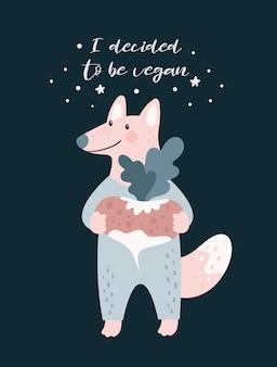 Dibujos animados lindo zorro lobo vegano