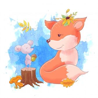 Dibujos animados lindo zorro y ratón, otoño, hojas.