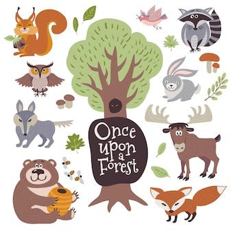 Dibujos animados lindos y animales salvajes del bosque y elementos florales del bosque
