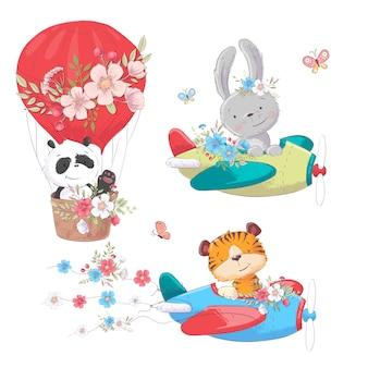 Dibujos animados lindos animales transportan vehículo nave y globo