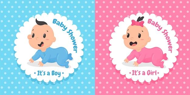 Dibujos animados lindos bebés y niñas que se arrastran alegremente