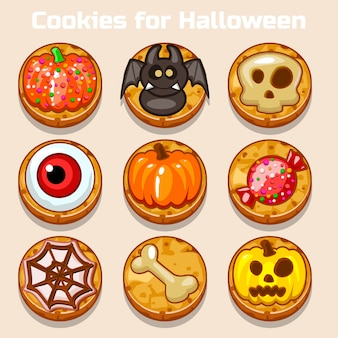 Dibujos animados lindos divertidos galletas de halloween