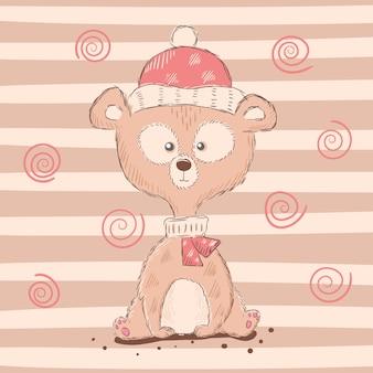 Dibujos animados lindos, divertidos personajes de oso.