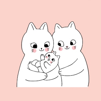 Dibujos animados lindos gatos familiares y vector recién nacido