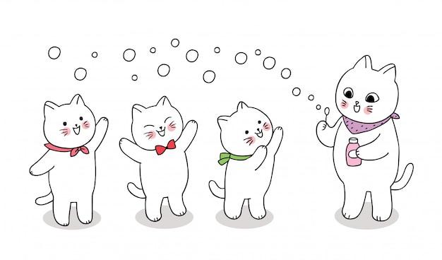 Dibujos animados lindos gatos jugando burbuja.