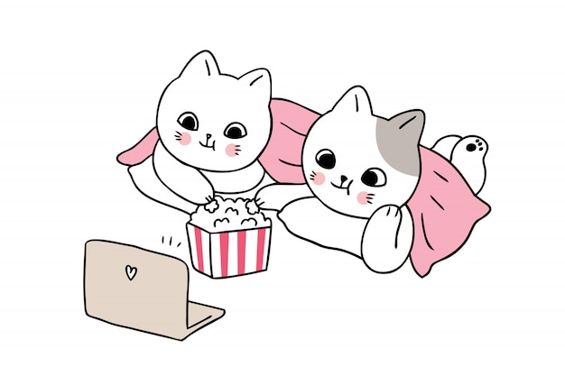Dibujos animados lindos gatos miran película.