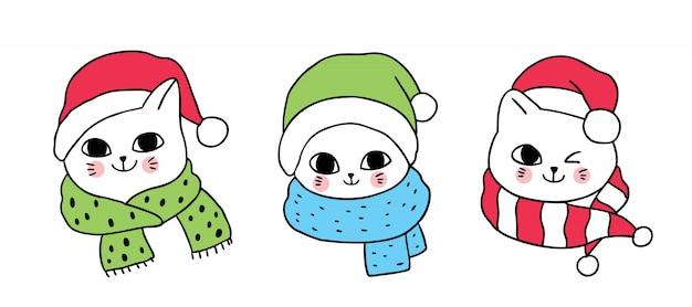 Dibujos animados lindos gatos de navidad.