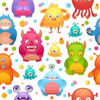 Dibujos animados lindos monstruos poco divertido personaje mutante extraterrestre patrón transparente ilustración vectorial