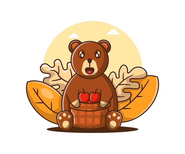 Dibujos animados lindos osos de otoño