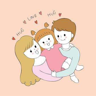 Dibujos animados lindos padres y bebé vector.