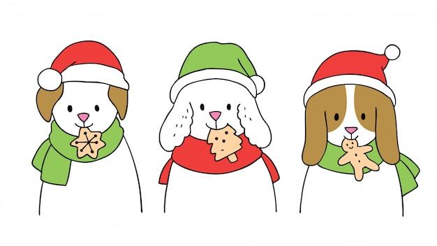 Dibujos animados lindos perros de navidad comiendo galletas.