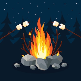Dibujos animados de llamas de fuego, hoguera, fogata en el bosque