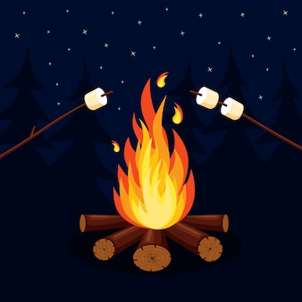 Dibujos animados de llamas de fuego, hoguera, fogata en el fondo.