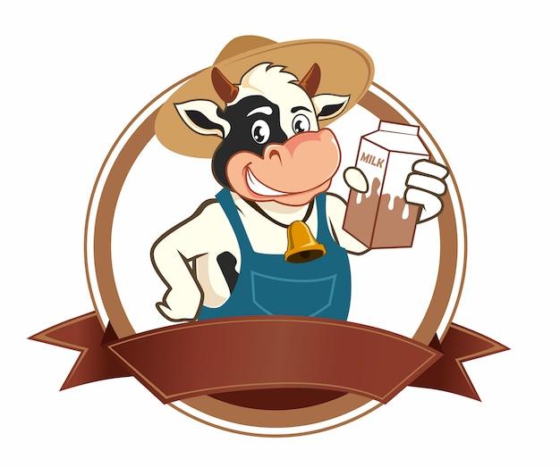 Dibujos animados de logo de leche de vaca