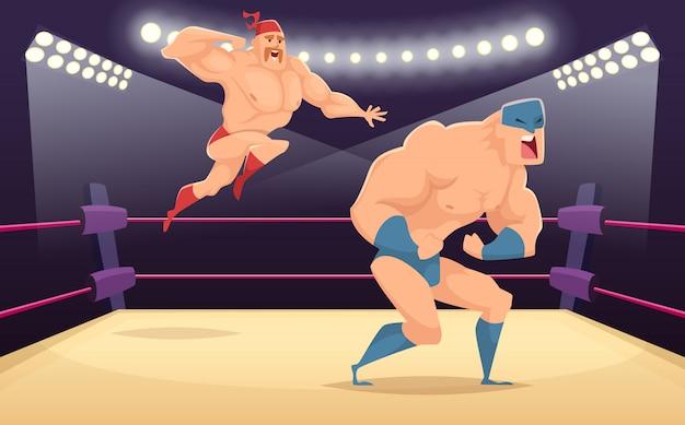 Dibujos animados de luchadores luchadores, personajes marciales de dibujos animados en el fondo de deporte de acción divertida anillo