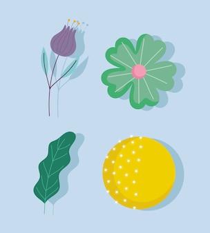 Dibujos animados luna llena flores hoja naturaleza decoración iconos vector diseño e ilustración