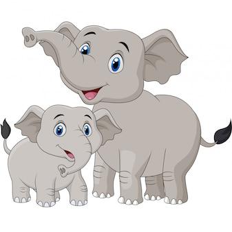 Dibujos animados madre y bebé elefante