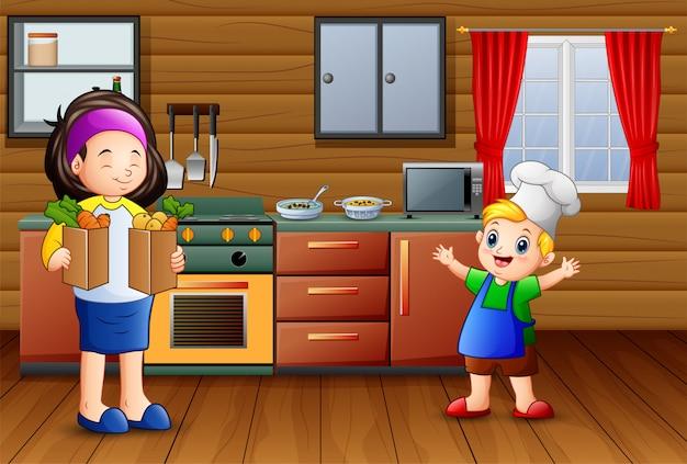 Dibujos animados de madre e hijo en la cocina