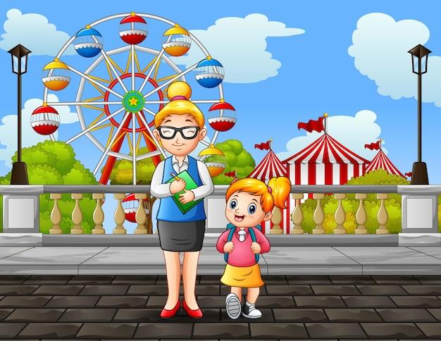 Dibujos animados de una maestra y una niña caminando por la carretera