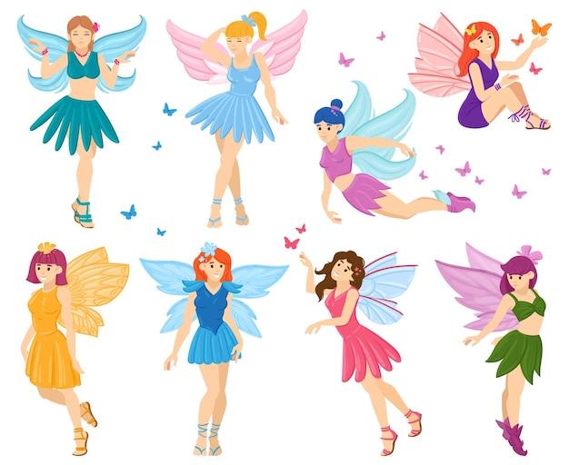 Dibujos animados mágicos personajes de hadas pequeñas de cuento de hadas. pequeñas hadas voladoras lindas, divertidas mascotas de hadas de fantasía conjunto de ilustraciones vectoriales de mascotas. criaturas mágicas de cuento de hadas