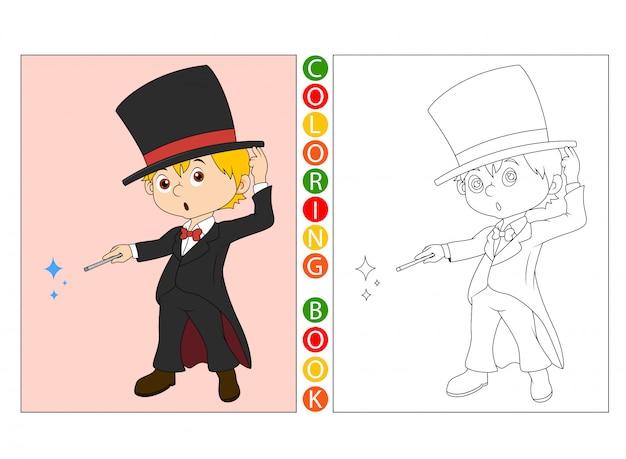Dibujos animados de mago, libro para colorear