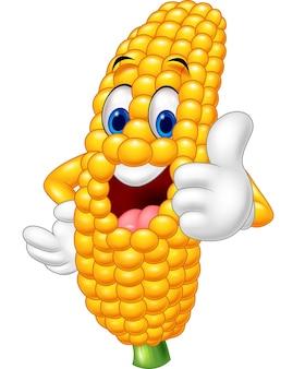 Dibujos animados de maíz feliz dando pulgar arriba
