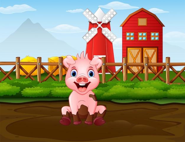 Dibujos animados de mal cerdo en el fondo de la granja