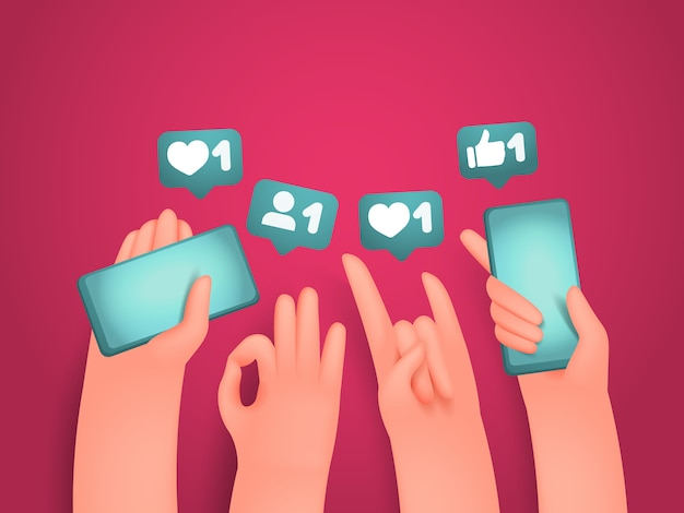 Dibujos animados manos humanas sosteniendo teléfonos y gesticulando