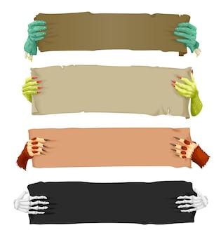 Dibujos animados de manos de monstruo aterrador con pergaminos de pancartas