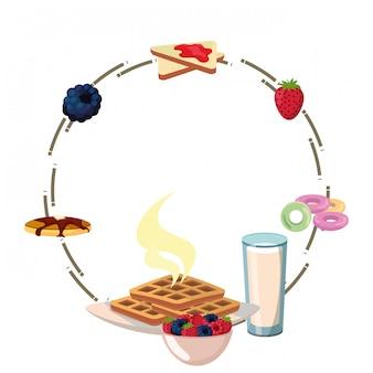 Dibujos animados de marco delicioso desayuno sabroso