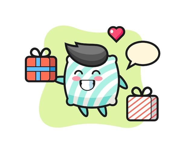 Dibujos animados de mascota de almohada dando el regalo, diseño de estilo lindo para camiseta, pegatina, elemento de logotipo