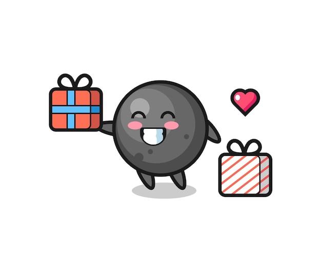 Dibujos animados de mascota de bola de cañón dando el regalo, diseño de estilo lindo para camiseta, pegatina, elemento de logotipo