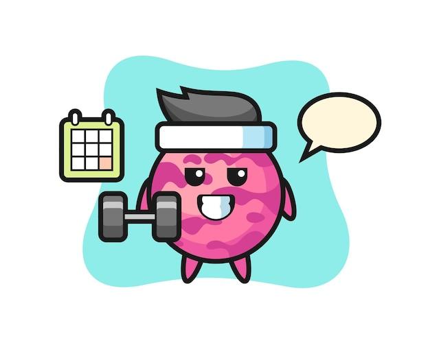 Dibujos animados de mascota de bola de helado haciendo fitness con mancuernas, diseño de estilo lindo para camiseta, pegatina, elemento de logotipo