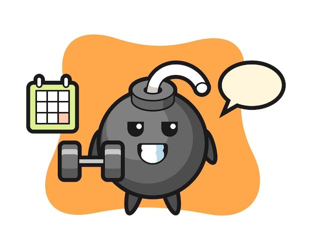 Dibujos animados de la mascota de la bomba haciendo fitness con mancuernas