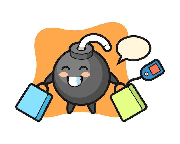 Dibujos animados de mascota de bomba sosteniendo una bolsa de compras