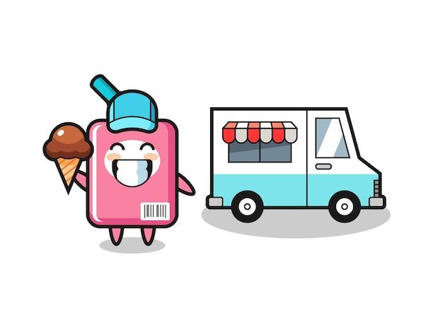 Dibujos animados de mascota de caja de leche con camión de helados, diseño de estilo lindo para camiseta, pegatina, elemento de logotipo
