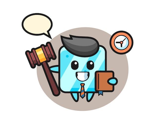 Dibujos animados de mascota de cubo de hielo como juez