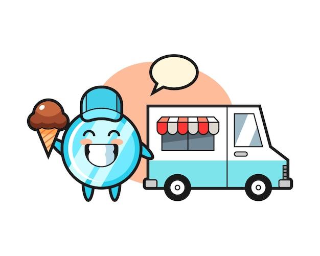 Dibujos animados de mascota de espejo con camión de helados