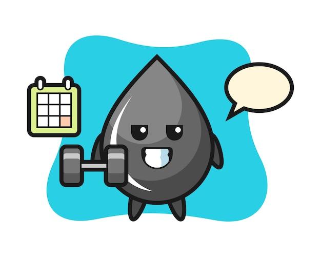 Dibujos animados de mascota de gota de aceite haciendo fitness con mancuernas