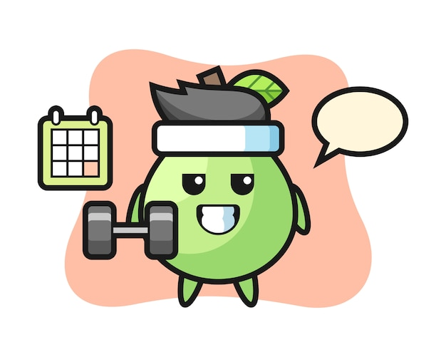 Dibujos animados de la mascota de guayaba haciendo fitness con mancuernas, estilo lindo para camiseta, pegatina, elemento de logotipo