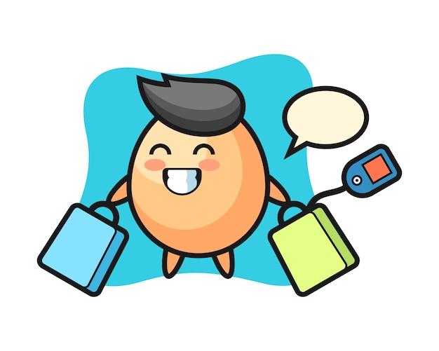 Dibujos animados de mascota de huevo con una bolsa de compras, estilo lindo para camiseta, pegatina, elemento de logotipo