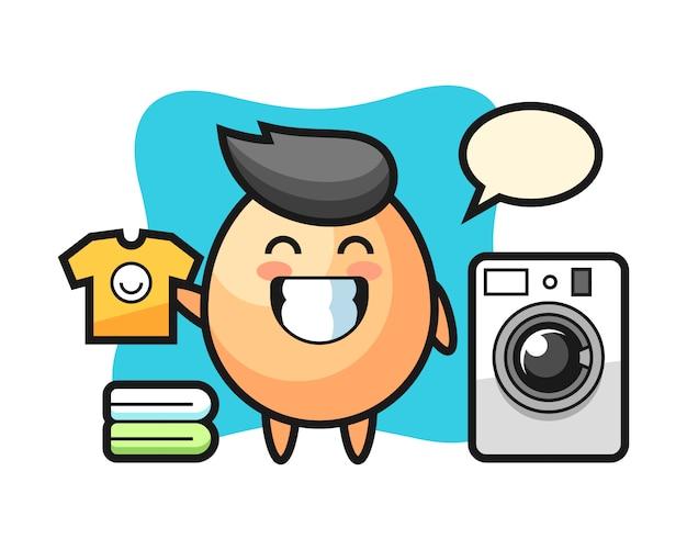 Dibujos animados de mascota de huevo con lavadora, diseño de estilo lindo para camiseta, pegatina, elemento de logotipo