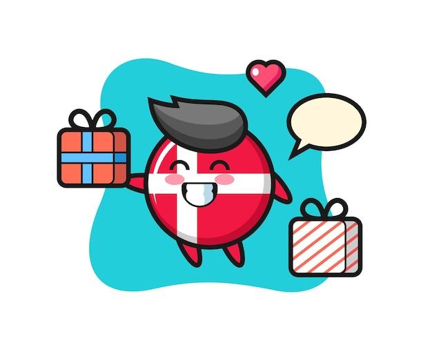 Dibujos animados de la mascota de la insignia de la bandera de dinamarca dando el regalo, diseño de estilo lindo para camiseta, pegatina, elemento de logotipo