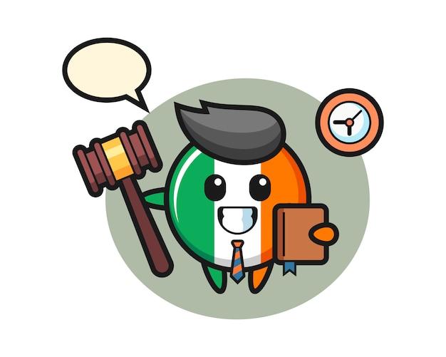 Dibujos animados de la mascota de la insignia de la bandera de irlanda como juez