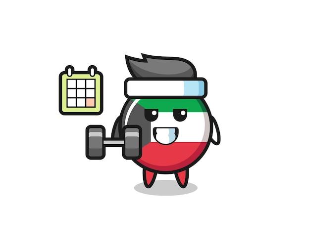 Dibujos animados de la mascota de la insignia de la bandera de kuwait haciendo fitness con mancuernas, diseño lindo
