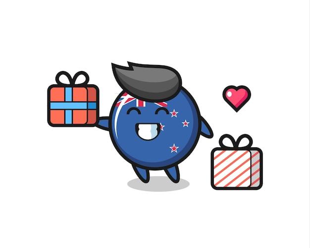 Dibujos animados de la mascota de la insignia de la bandera de nueva zelanda dando el regalo, diseño de estilo lindo para camiseta, pegatina, elemento de logotipo