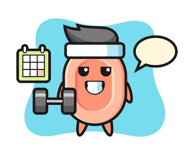 Dibujos animados de mascota de jabón haciendo fitness con mancuernas, estilo lindo para camiseta, pegatina, elemento de logotipo