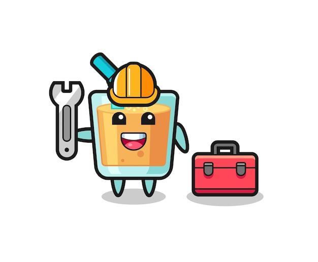 Dibujos animados de mascota de jugo de naranja como mecánico, diseño de estilo lindo para camiseta, pegatina, elemento de logotipo
