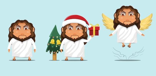Dibujos animados de mascota linda con temática navideña jesucristo
