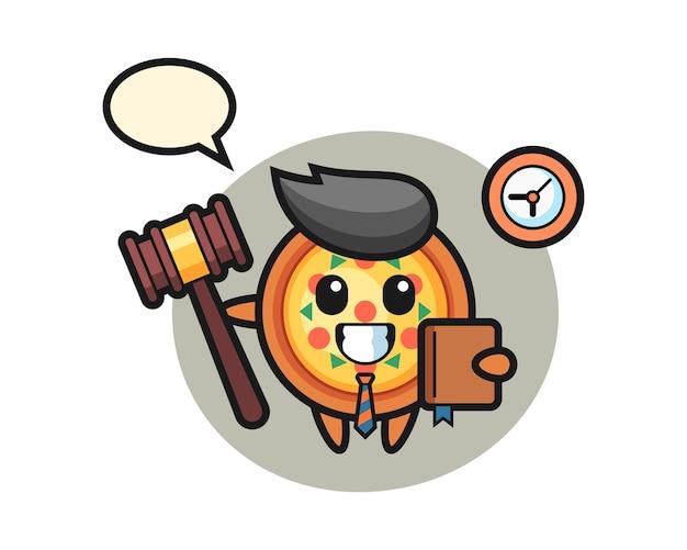 Dibujos animados de mascota de pizza como juez